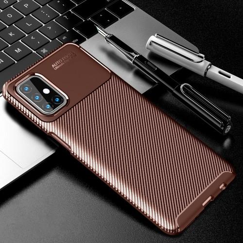 Матовый силиконовый чехол для Samsung Galaxy M31s с текстурным покрытием карбон Коричневый - купить в Санкт-Петербурге на spb.100gadgets.ru