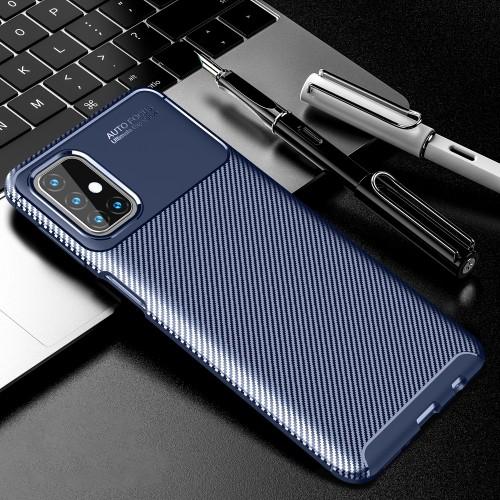 Матовый силиконовый чехол для Samsung Galaxy M31s с текстурным покрытием карбон Синий - купить в Санкт-Петербурге на spb.100gadgets.ru