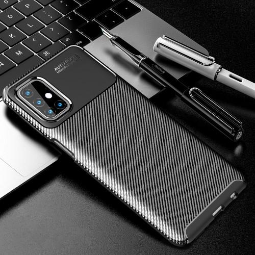 Матовый силиконовый чехол для Samsung Galaxy M31s с текстурным покрытием карбон Черный - купить в Санкт-Петербурге на spb.100gadgets.ru
