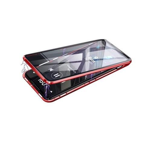 Двухкомпонентный металлический магнитный чехол для  Xiaomi RedMi Note 9S/Redmi 9 Pro с защитным стеклом и прозрачной задней накладкой Красный - купить в Санкт-Петербурге на spb.100gadgets.ru